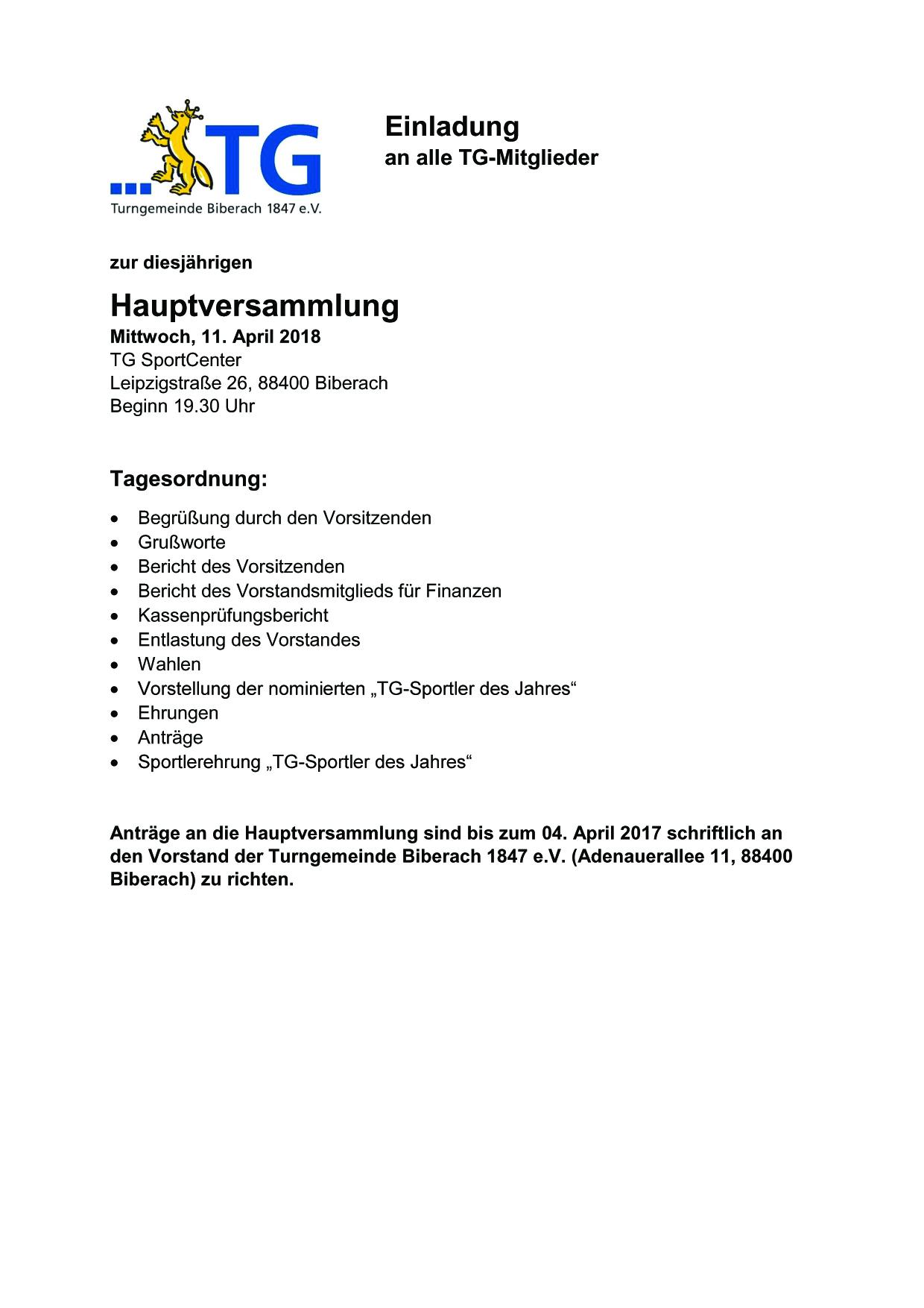 Hauptversammlung TG Biberach Hauptverein @ TG SportCenter | Biberach an der Riß | Baden-Württemberg | Deutschland
